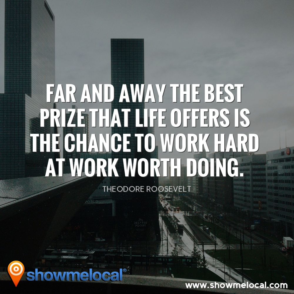 Far and away the best prize that life offers is the chance to work hard at work worth doing. ~ Theodore Roosevelt